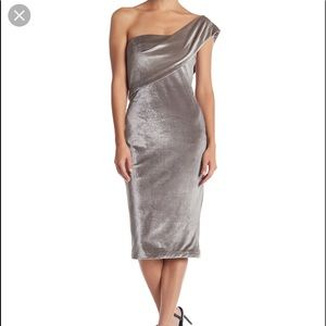 Likely adjustable silver velour dress.